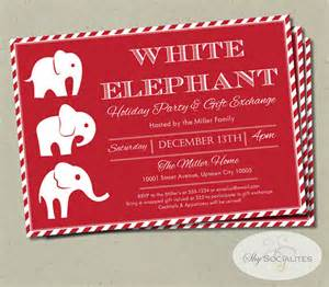 white elephant invitation candycane stripes gift exchange