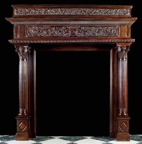 antique walnut fireplace with grotesques antique large renaissance style carved walnut camino