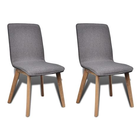 Gray Dining Chair Set Of 2 Gray Fabric Oak Dining Chair Indoor Vidaxl