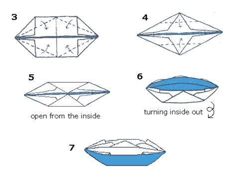 Canoe Origami - free coloring pages of origami boat