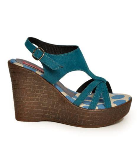 butterfly teal blue wedge heel sandals