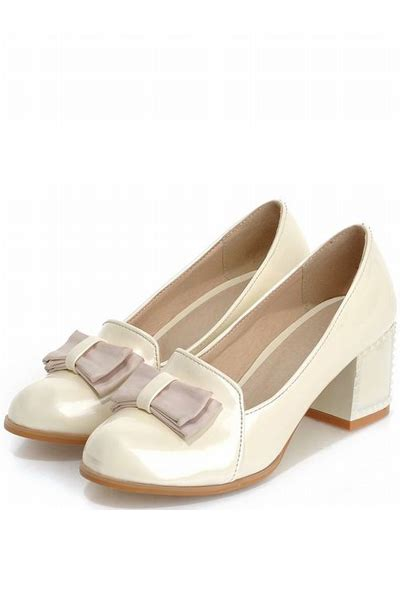 Bow Accent Chunky Heel Shoes patent leather bow accent chunky heels 021773 fashion