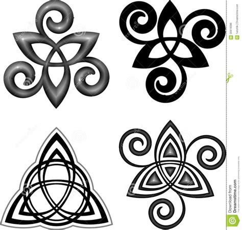 triquetra and triple spiral triskele tattoos