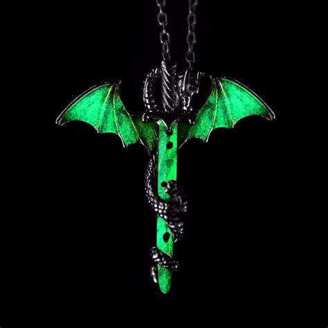 glow in the dark tattoo choker luminous dragon sword necklace glow in the dark pendants