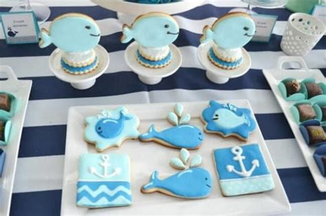 Baby Boy Shower Cookie Ideas by A Boy S Whale Themed Baby Shower Spaceships And Laser Beams