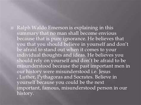 Ralph Waldo Emerson Essay Nature Summary by Self Reliance Essay Summary Argument Essay