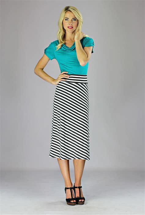Knit Midi A Line Skirt modest midi skirts in black and white stripes