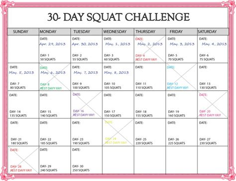 30 Day Squat Challenge Calendar Printable Online Calendar Templates 30 Day Calendar Template