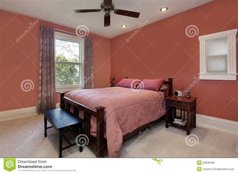 peach colored bedrooms master bedroom with peach colored walls stock photo