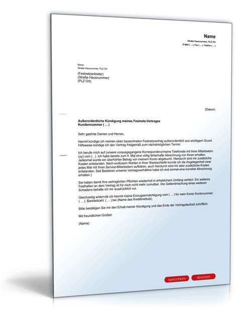 Musterbrief Widerspruch Fristlose Kündigung Fristlose K 252 Ndigung Festnetzvertrag Vorlage Zum