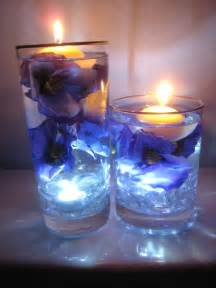 purple and blue flower floating candle wedding centerpiece kit