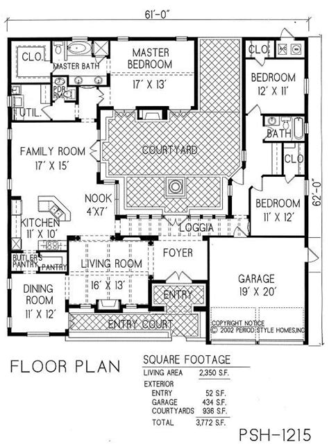 courtyard house plan spanish house plans with a courtyard spanish home and