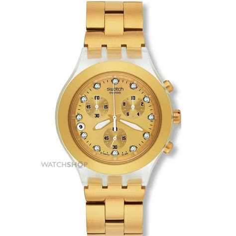 unisex swatch blooded gold chronograph