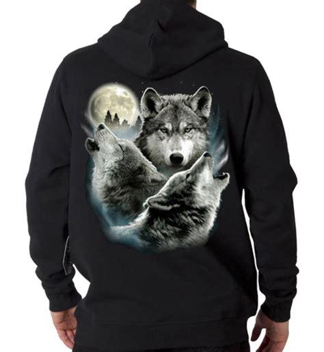 Hoodie Wolf hooded sweatshirt hoodie custom design 3 wolf moon tee4mee
