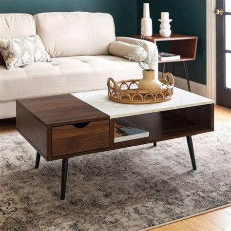 tapered leg mid century modern storage coffee table
