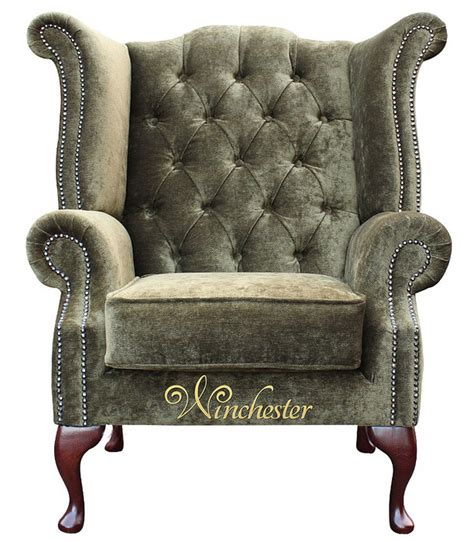 chesterfield high back sofa chesterfield fabric queen anne high back wing chair moss