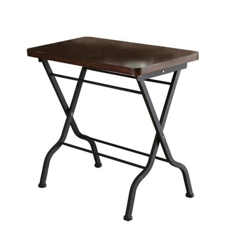 black metal table l metal folding accent end table in cherry and charcoal