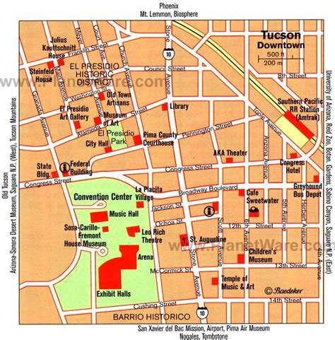 printable map of tucson area 12 top rated tourist attractions in tucson planetware