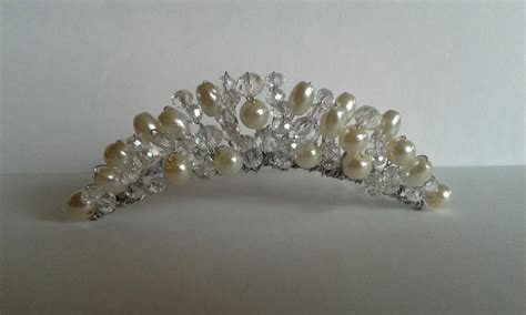 Handmade Tiara - beautiful handmade tiara comb ivory oval and pearl