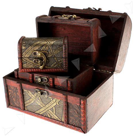 Taf Toys Mini Treasure Box 3 x wooden pirate jewellery storage box holder