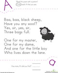 find the letter a baa baa black sheep worksheet
