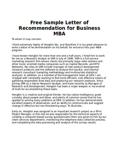 Sle Letter Of Recommendation For Mba From College Sle Mba Recommendation Letter 6 Exles In Word Pdf