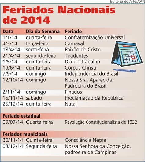 Calendã E Feriados 2014 Calend 225 2014 Feriados Nacionais Cobertura Das Noticias