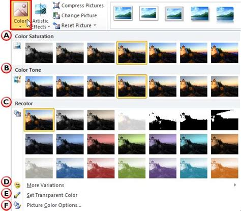 change picture color changing color of pictures in powerpoint 2010 for windows