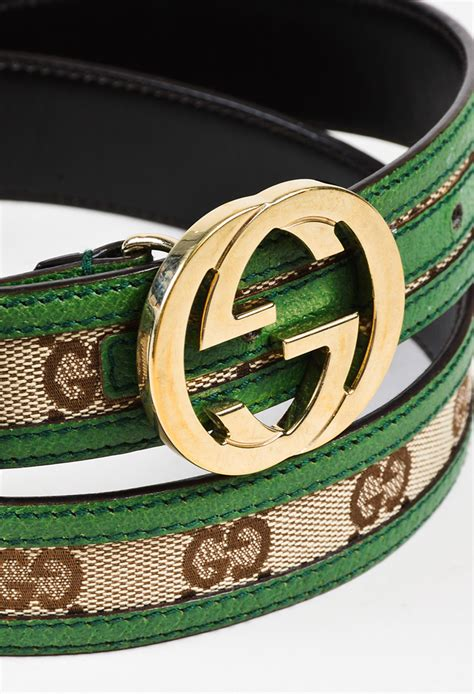 gold gucci pattern mens gucci green brown canvas leather quot original gg