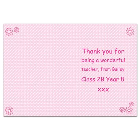 personalised pink teacher s card personalised cards teachers cards p cushion for - Best Teacher Gift Cards