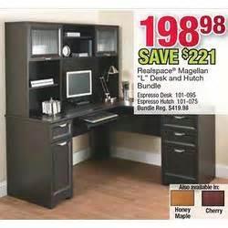realspace landon desk with hutch cherry by office realspace magellan l desk hutch bundle cherry at