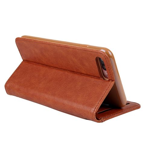 Best Deal Flip Leather For Iphone 7 Plus 8 Plus Brown leather flip wallet cover stand iphone 8 plus 7 plus