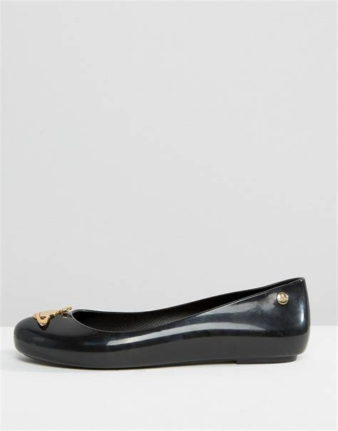 Flat Shoes Nf01 Sintetis Glossy vivienne westwood anglomania black orb gloss space flat shoes in black lyst