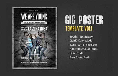 gig poster templates gig poster template vol 1 medialoot