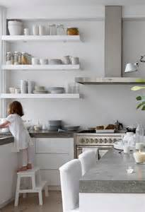 kitchen sheved open shelving for an affordable kitchen update