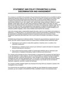Sexual Harassment Policy Template by Statement And Policy Prohibiting Illegal Discrimination