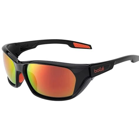 bolle aravis sport sunglasses in shiny black with tns