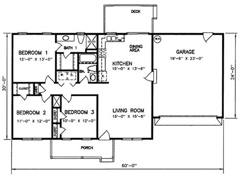 square feet of 3 car garage 3 bedroom with garage house plans under 1100 square feet