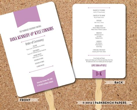 wedding program template plum banner fan diy editable word