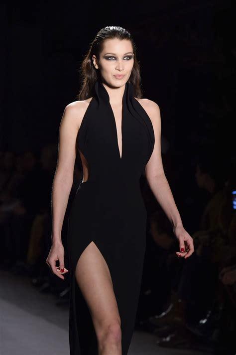 bella hadid wears bombshell  black dress