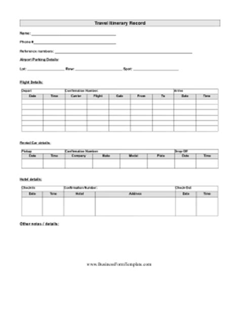 sle business travel itinerary template travel itinerary template