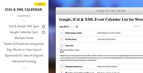 theme wordpress xml google ical xml event calendar for wordpress theme for u