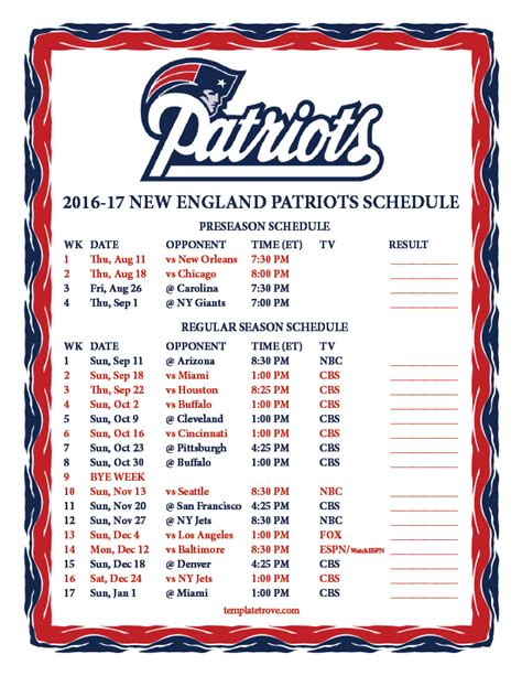 printable schedule for new england patriots printable 2016 2017 new england patriots schedule