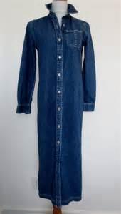 vintage denim maxi dress long denim dress womens by