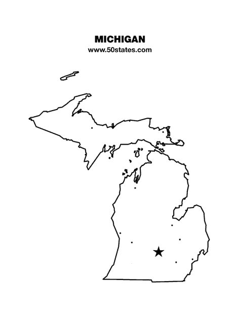 Outline Of Michigan State by Michigan Map