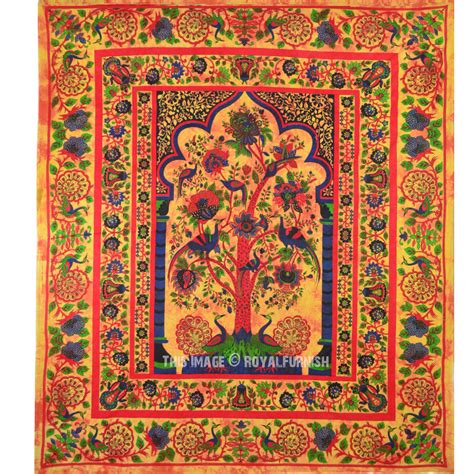 tapestry coverlets multicolor queen size indian tree of life hippie wall