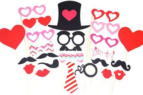 valentines day props valentines day photo booth prop set 24 pieces on a stick