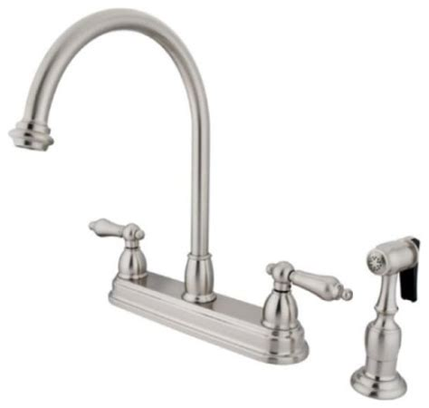 satin nickel two handle 8 quot kitchen faucet with brass