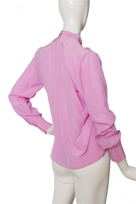 1970s yves laurent pink silk blouse for sale at 1stdibs