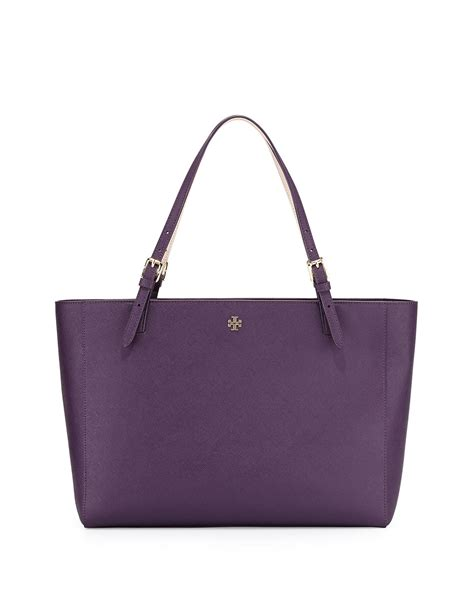burch york saffiano leather tote bag in purple lyst